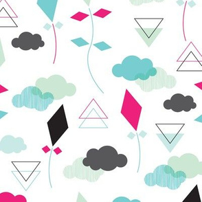 Geometric pastel colors kite clouds illustration pattern