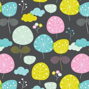 Summer colorful retro poppy flower illustration pattern