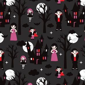 Spooky dark night full moon halloween vampire family illustration pattern