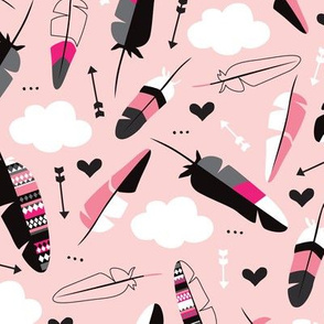 Geometric feathers pastel arrows and clouds illustration pattern pink