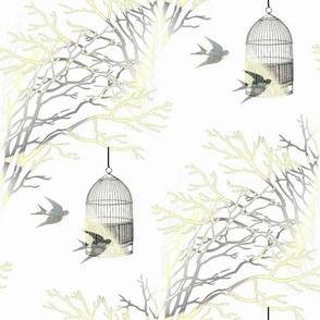 Bare Branches Birdcage Yellow Gray