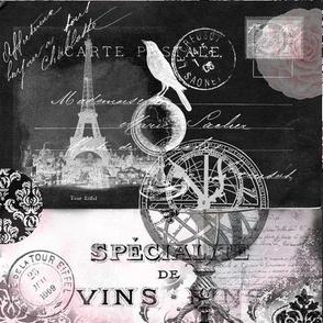 French Postcard Eiffel Tower Crow Black PInk