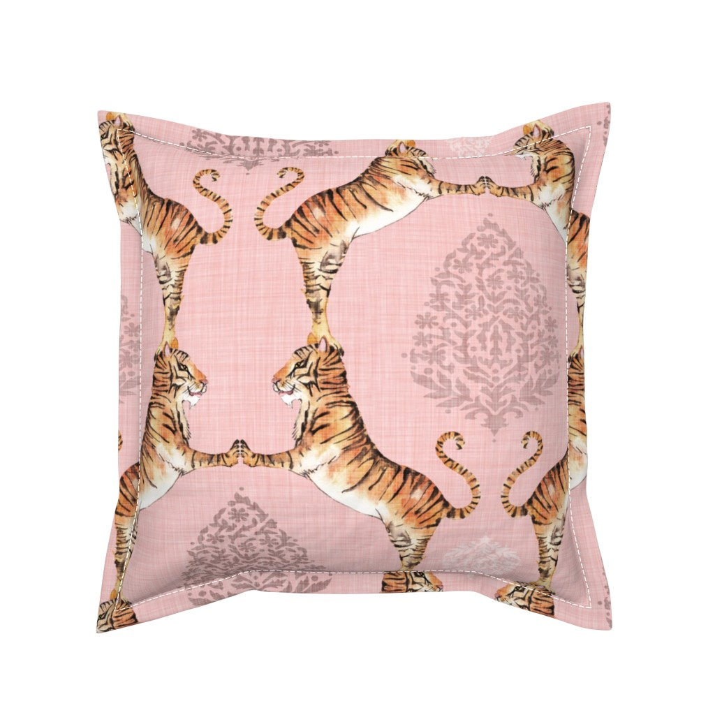 Serama Throw Pillow featuring Big Cat Damask (LRG) rose quartz by nouveau_bohemian