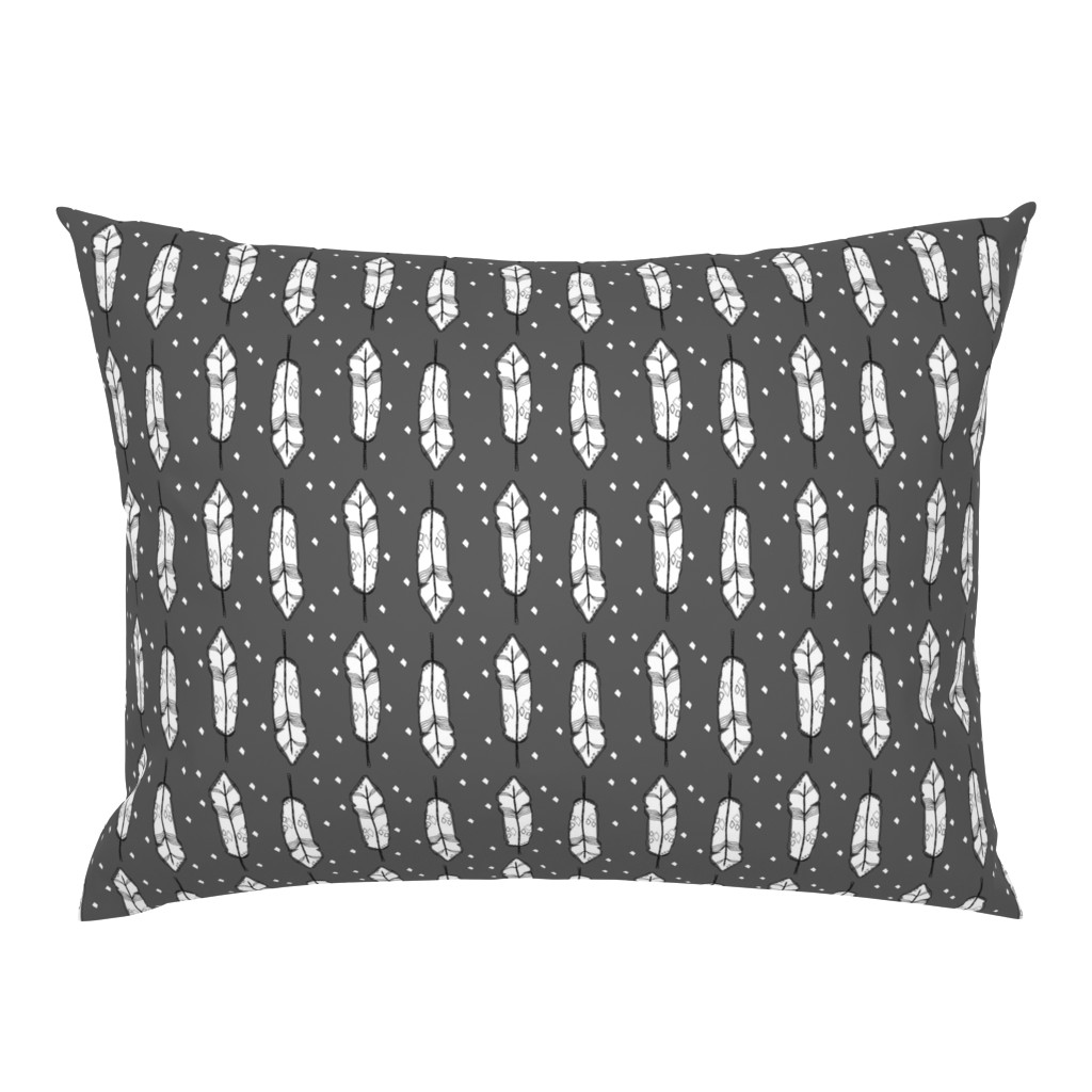 Campine Pillow Sham featuring grey feather - elvelyckan by elvelyckan