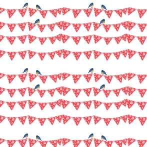 Bunting and Bluebirds on white