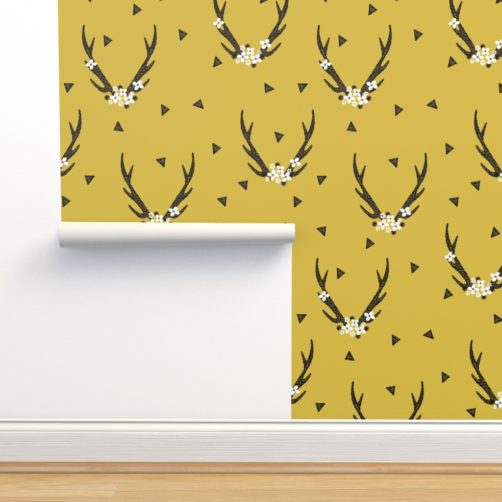 Floral Antlers Flowers Mustard Yellow On Isobar By