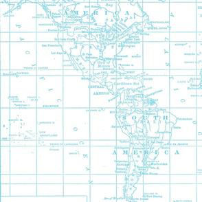 Pantone Blue Map Print Fabric