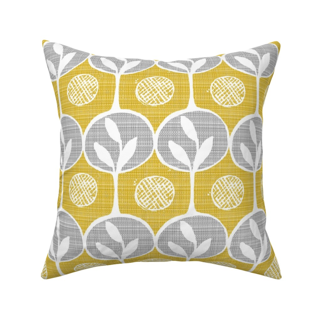 Catalan Throw Pillow featuring forest - large scale trees -lighter golden  by ottomanbrim