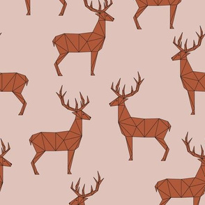 Deer -Dusty pink- Red Brown