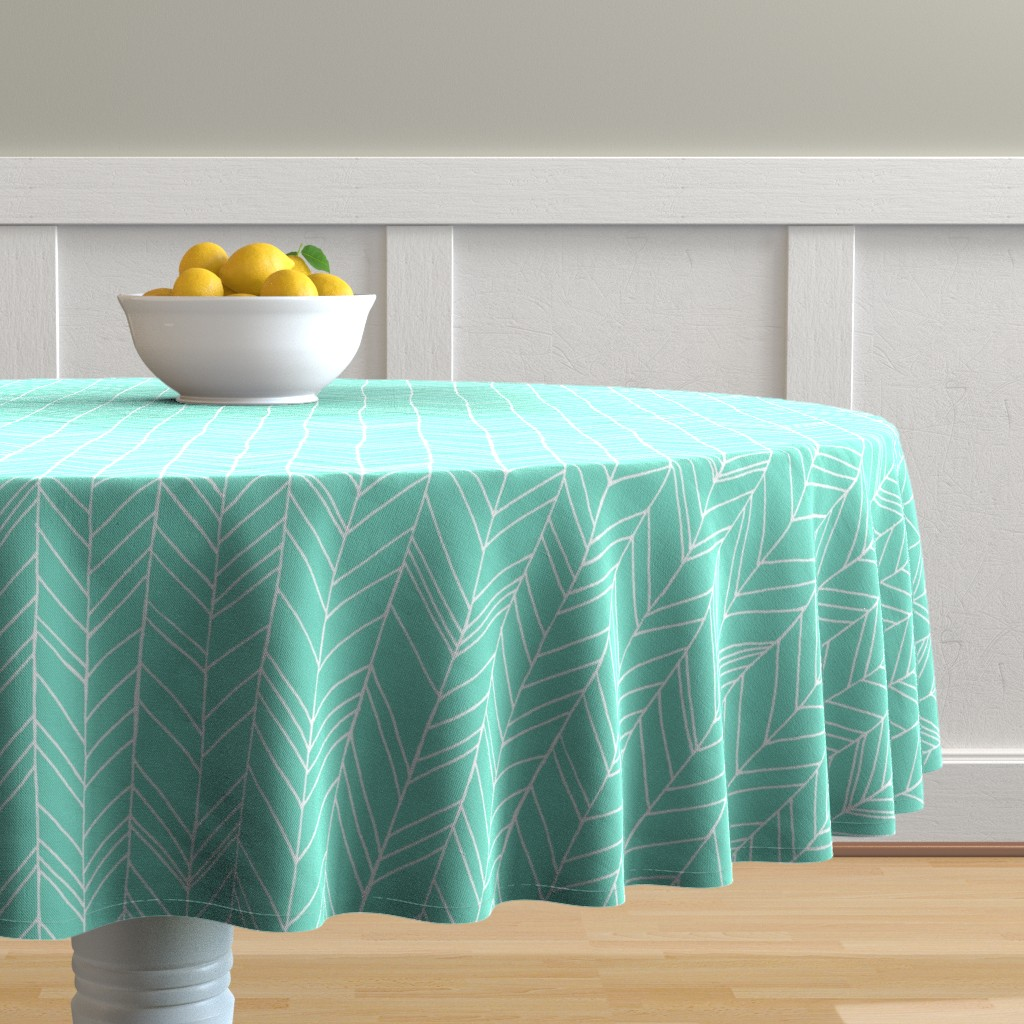 Malay Round Tablecloth featuring Featherland Mint/White LARGE by leanne
