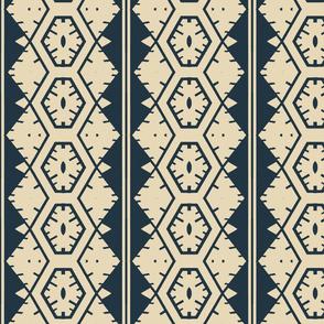 Vertical Tribal Design in Dark Blue
