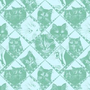 Damask_Cats_7ec1a9_Dark_Aqua_and__d5f7ff_background_