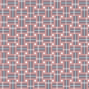 Vintage Lawn Chair Webbing in Navy and Pink