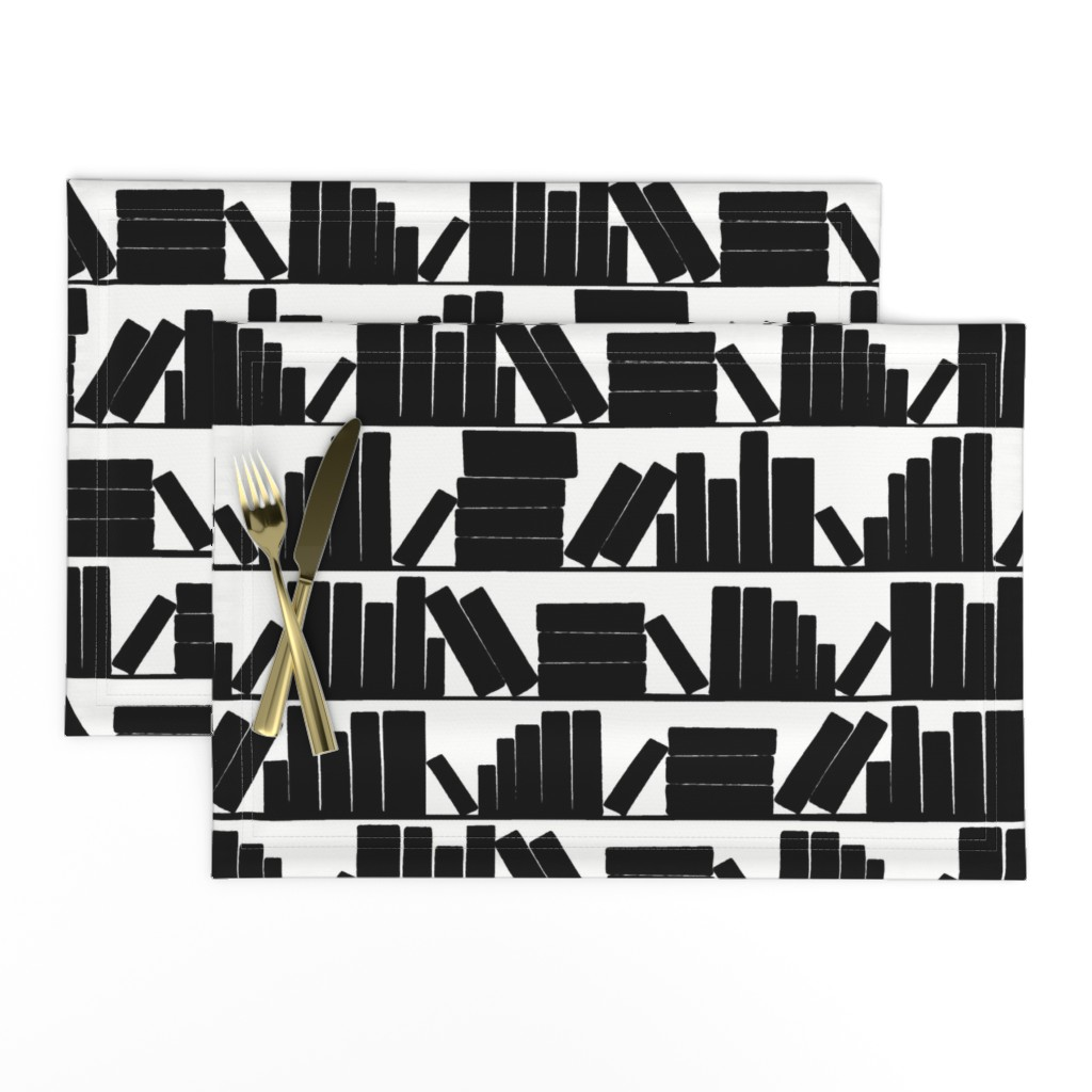Lamona Cloth Placemats featuring library book shelves, black and white by amy_g