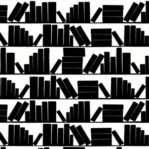 library book shelves, black and white