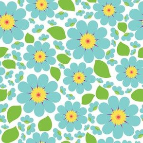 Blue Scatter Flower Print