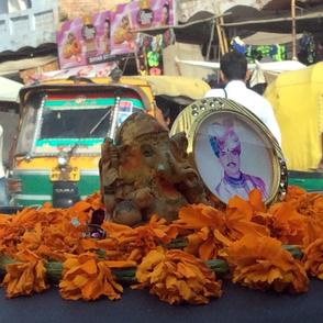 God and Guru on the Dashboard in Rajastan