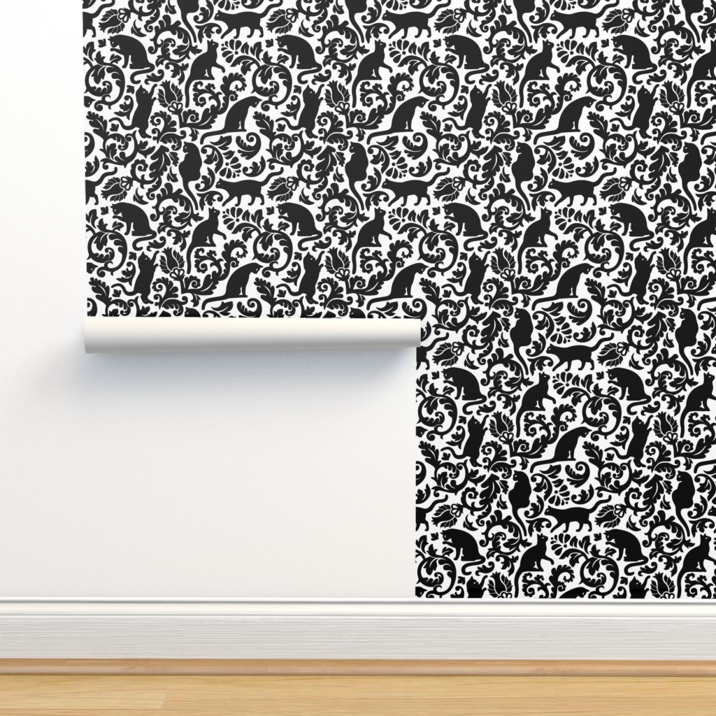 Isobar Durable Wallpaper featuring Cats In The Garden / Black On White Background / Large Scale by mirabelle_print