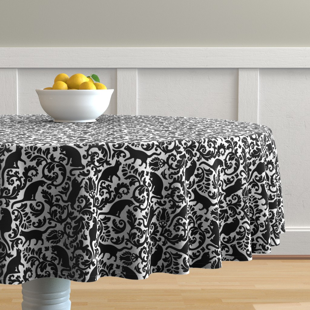 Malay Round Tablecloth featuring cats in the garden - black and white, large by mirabelleprint