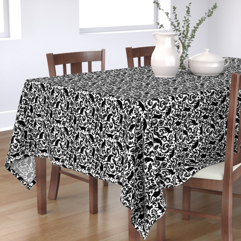 Bantam Rectangular Tablecloth featuring Cats In The Garden / Black On White Background / Large Scale by mirabelle_print