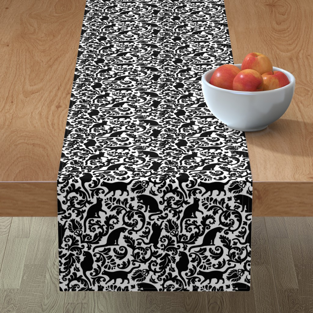 Minorca Table Runner featuring cats in the garden - black and white, large by mirabelleprint