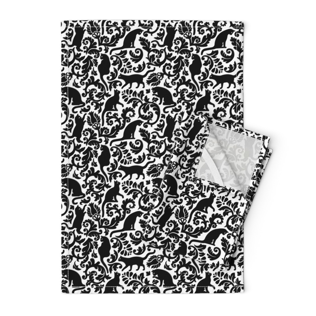 Orpington Tea Towels featuring cats in the garden - black and white, large by mirabelleprint