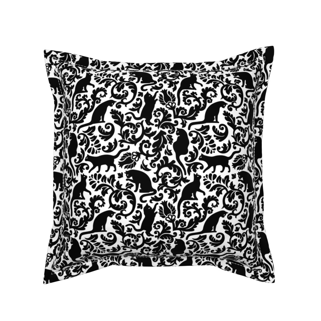 Serama Throw Pillow featuring Cats In The Garden / Black On White Background / Large Scale by mirabelle_print