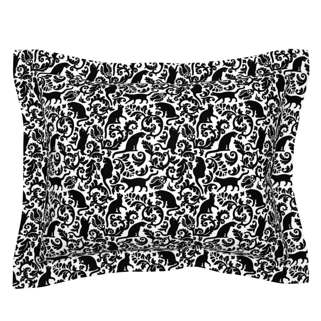 Sebright Pillow Sham featuring cats in the garden - black and white, large by mirabelleprint