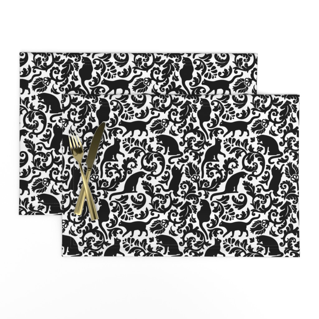 Lamona Cloth Placemats featuring cats in the garden - black and white, large by mirabelleprint