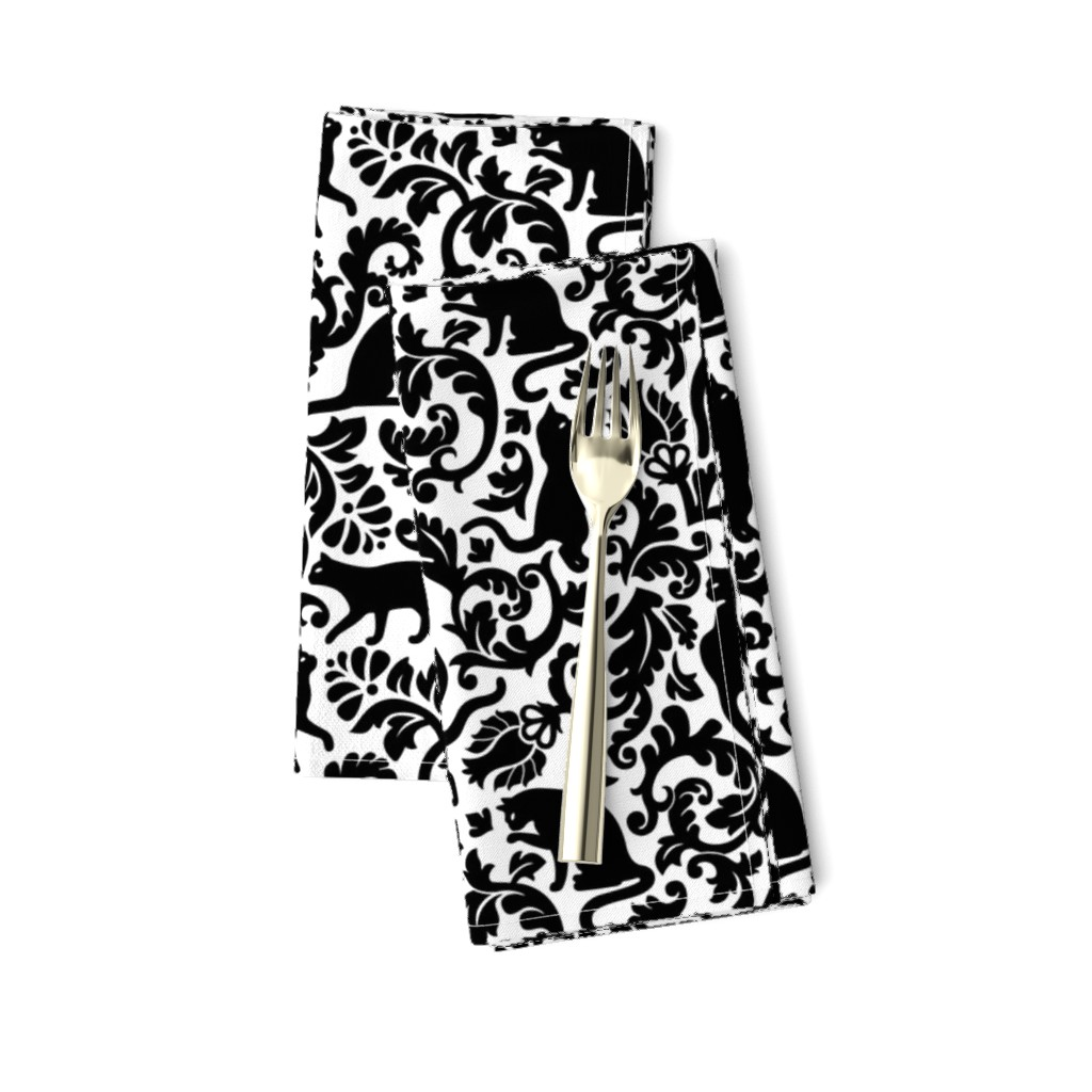 Amarela Dinner Napkins featuring cats in the garden - black and white, large by mirabelleprint