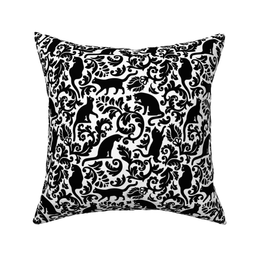 Catalan Throw Pillow featuring cats in the garden - black and white, large by mirabelleprint