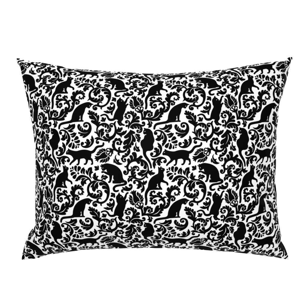 Campine Pillow Sham featuring cats in the garden - black and white, large by mirabelleprint