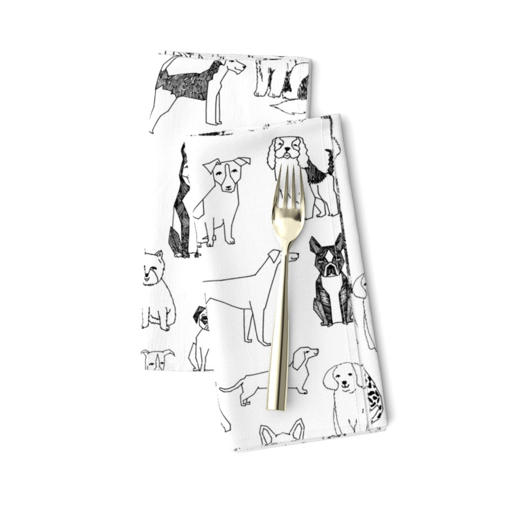 Amarela Dinner Napkins featuring dogs // black and white hand drawn dog illustration cute dogs pet dogs  by andrea_lauren