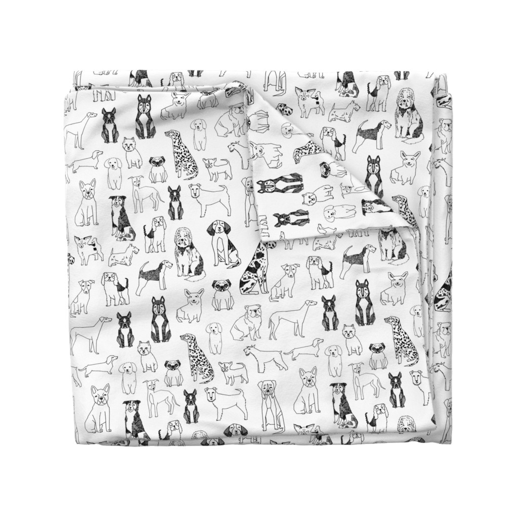 Wyandotte Duvet Cover featuring dogs // black and white hand drawn dog illustration cute dogs pet dogs  by andrea_lauren