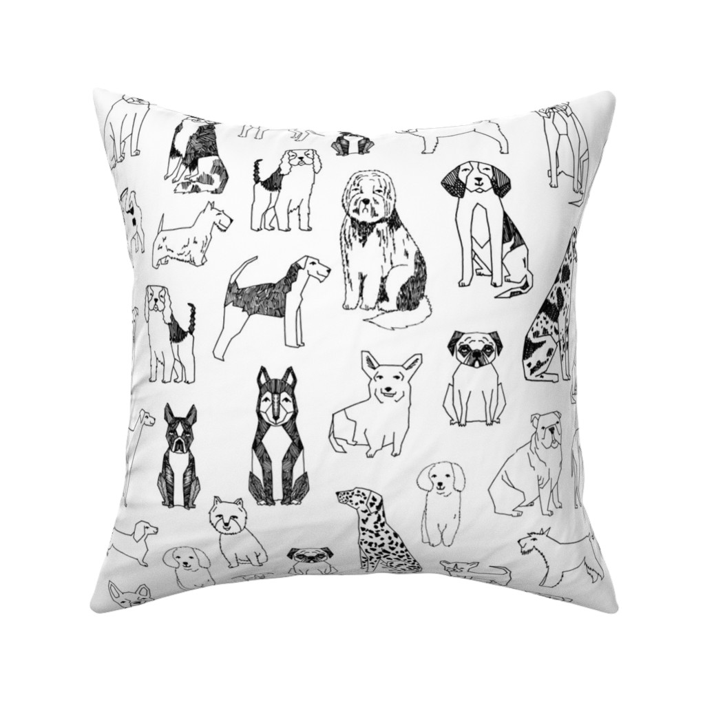 Catalan Throw Pillow featuring dogs // black and white hand drawn dog illustration cute dogs pet dogs  by andrea_lauren