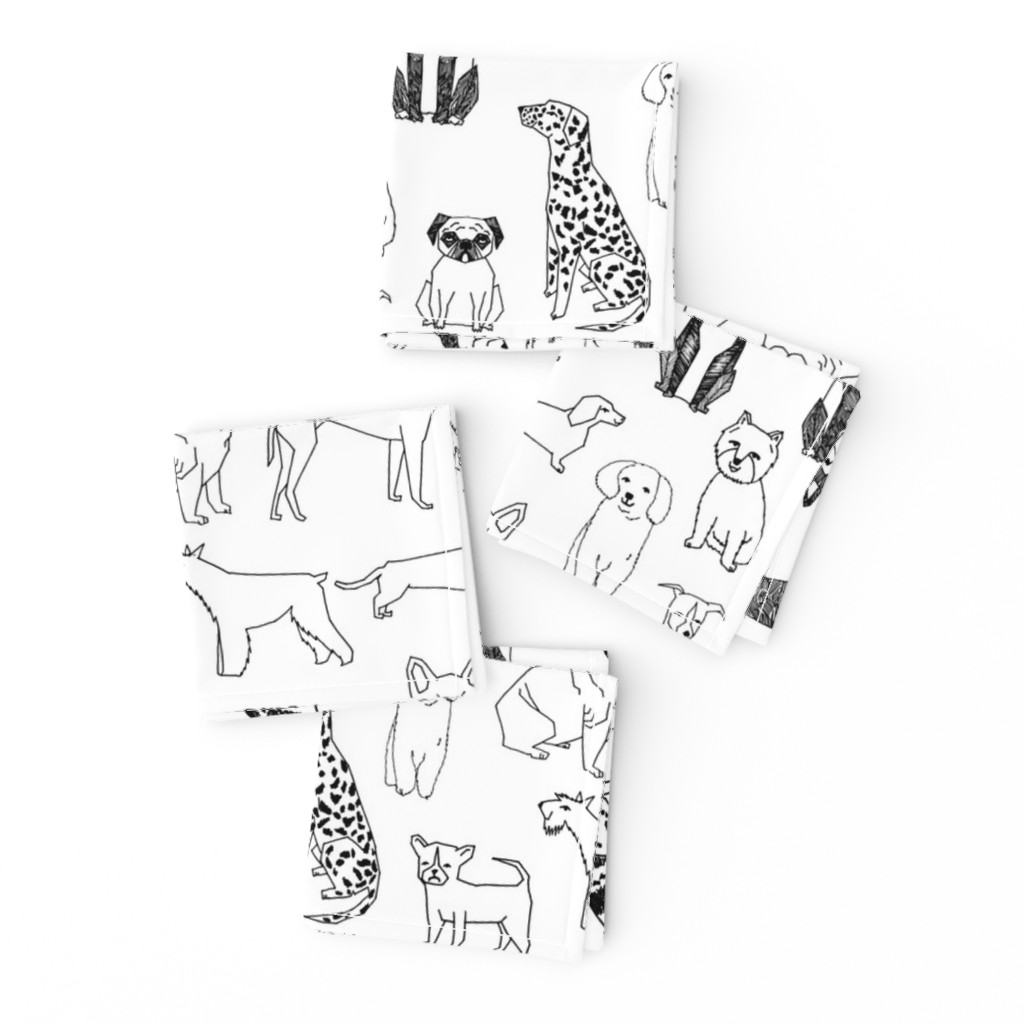 Frizzle Cocktail Napkins featuring dogs // black and white hand drawn dog illustration cute dogs pet dogs  by andrea_lauren