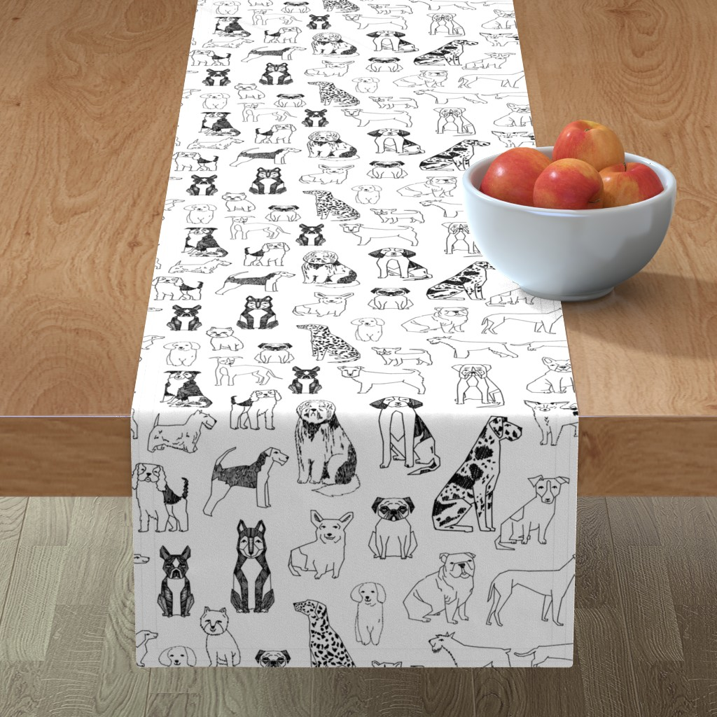 Minorca Table Runner featuring dogs // black and white hand drawn dog illustration cute dogs pet dogs  by andrea_lauren