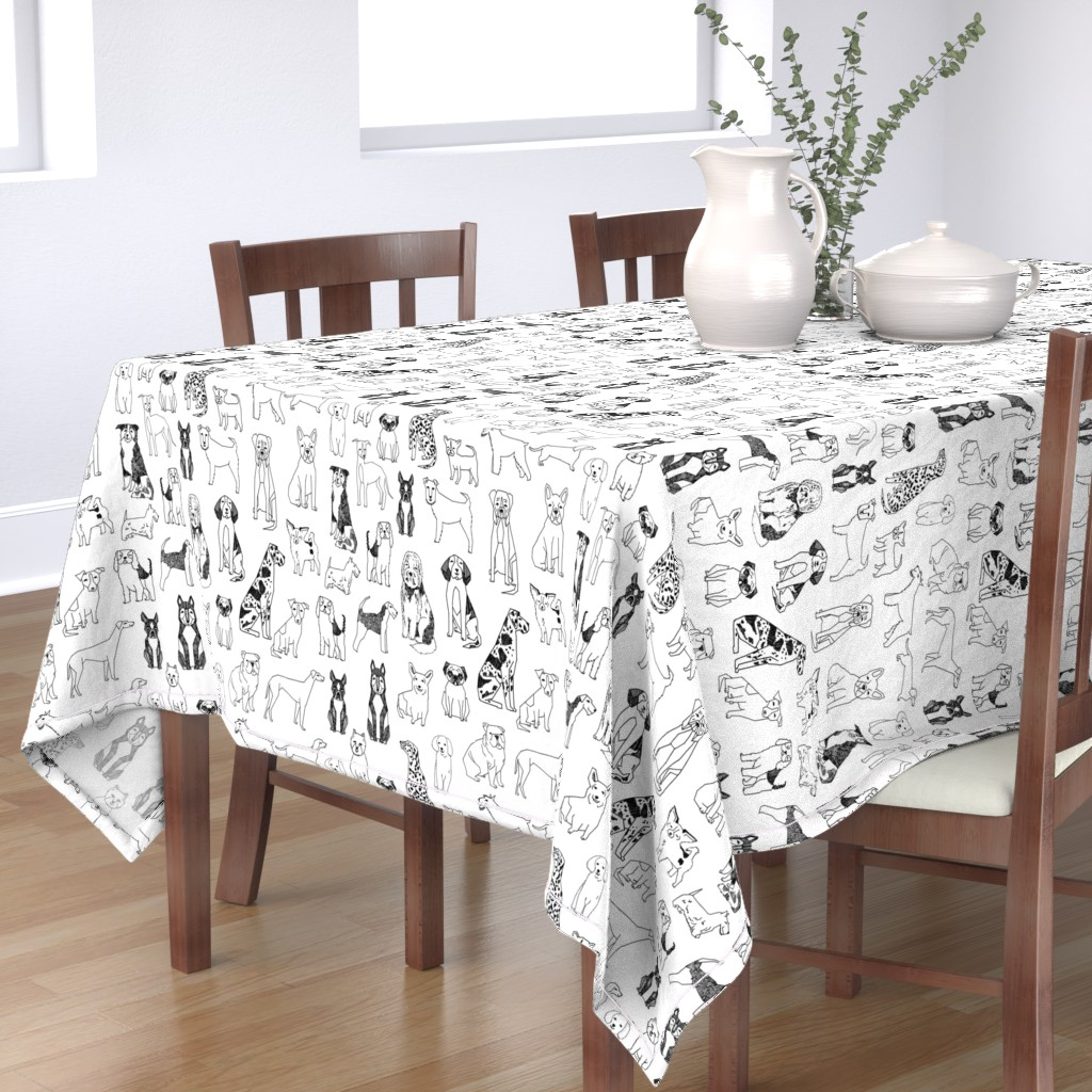 Bantam Rectangular Tablecloth featuring dogs // black and white hand drawn dog illustration cute dogs pet dogs  by andrea_lauren