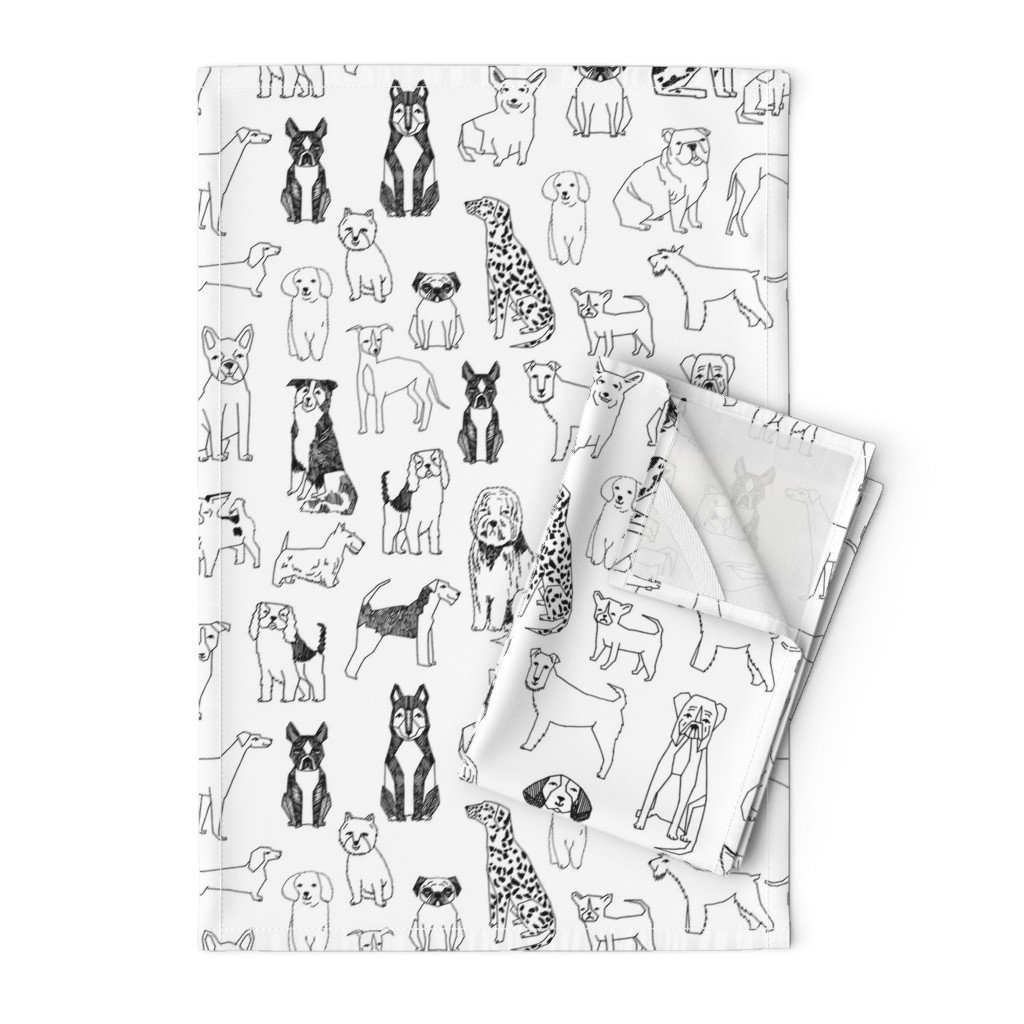 Orpington Tea Towels featuring dogs // black and white hand drawn dog illustration cute dogs pet dogs  by andrea_lauren