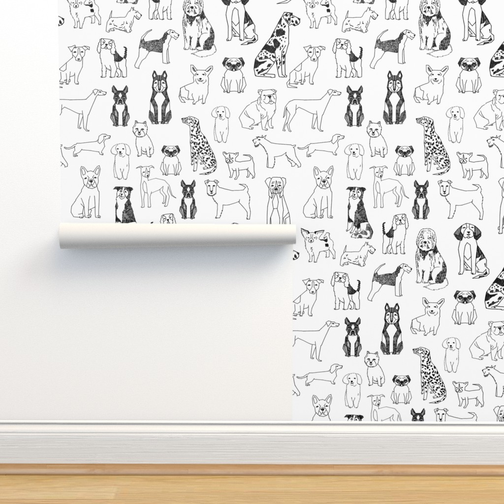 Isobar Durable Wallpaper featuring dogs // black and white hand drawn dog illustration cute dogs pet dogs  by andrea_lauren