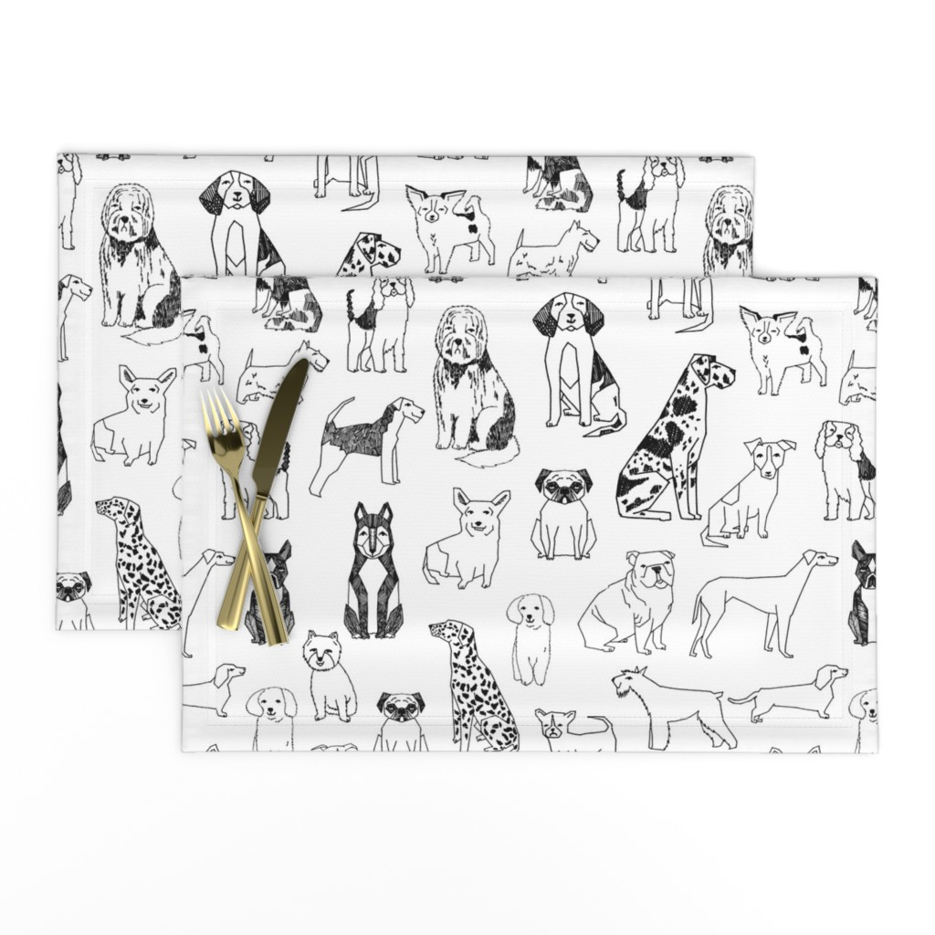 Lamona Cloth Placemats featuring dogs // black and white hand drawn dog illustration cute dogs pet dogs  by andrea_lauren