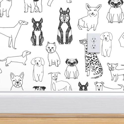 Black White Hand Drawn Dog by andrea/_lauren Dog Illustration Wallpaper Black White  Boston Terrier Wallpaper Double Roll by Spoonflower