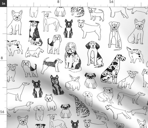 Dogs Black And White Hand Drawn Dog I Spoonflower
