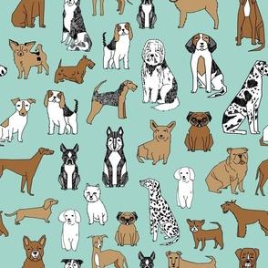 dogs // mint cute pets dog breeds hand drawn illustration dog pattern seamless pattern print