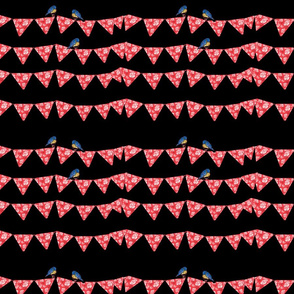 Bunting and Bluebirds on black