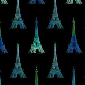 Paris Eiffel Tower Blue Green Black