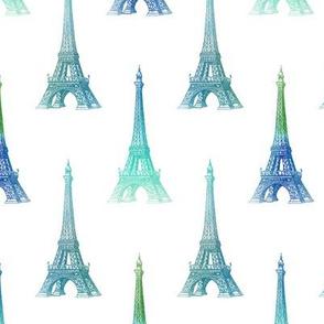 Paris Eiffel Tower Blue Green Aqua