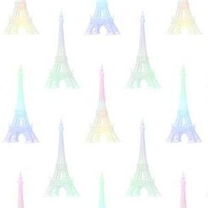 Paris Eiffel Tower Pastel Rainbow