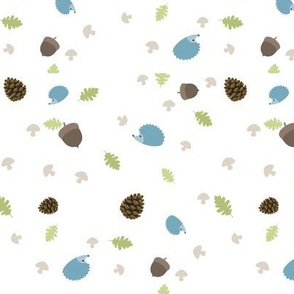 Woodland Friends - Hedgehogs on white