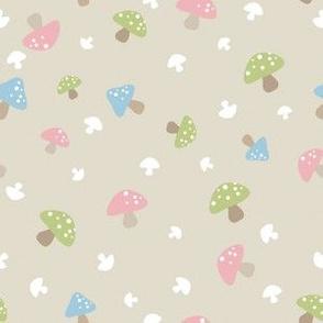 Woodland Mushroom - Pink on cream